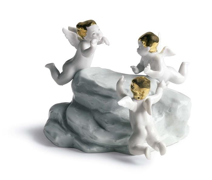 LladroEarth - Cherubs On Small Light Turq. EarthPorcelain Figurine