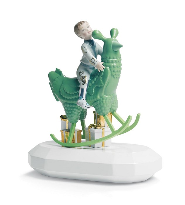Lladro THE ROCKING CHICKEN RIDE Mixed Media Sculpture