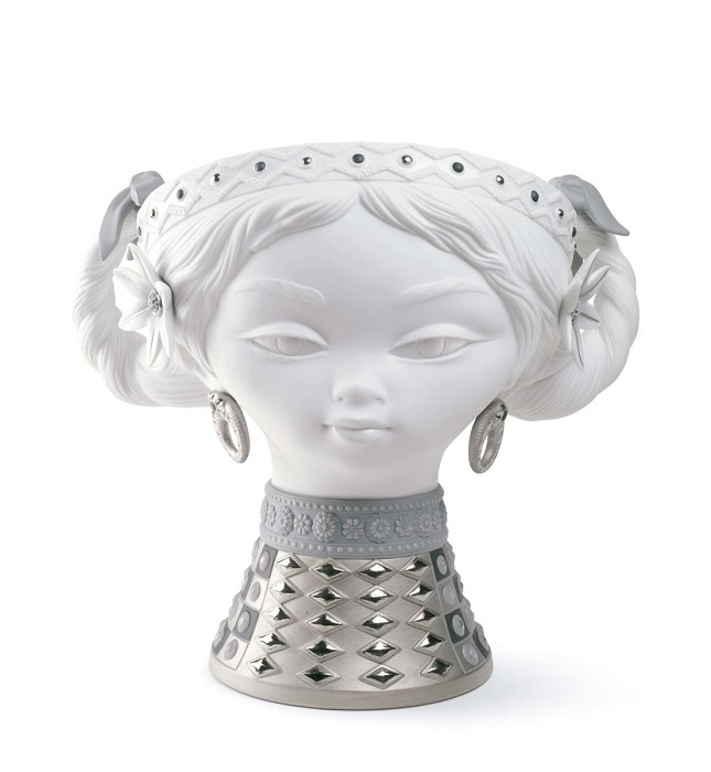Lladro BYZANTINE HEAD (SILVER AND WHITE)  Mixed Media Sculpture