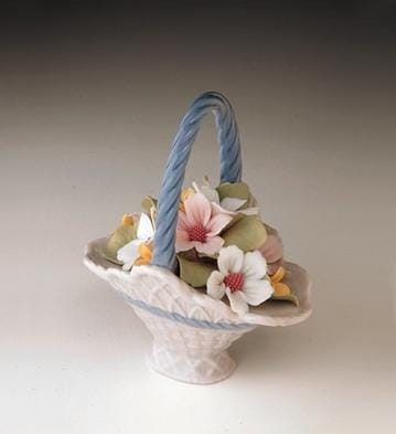 Lladro A Basket of Blossoms Porcelain Figurine