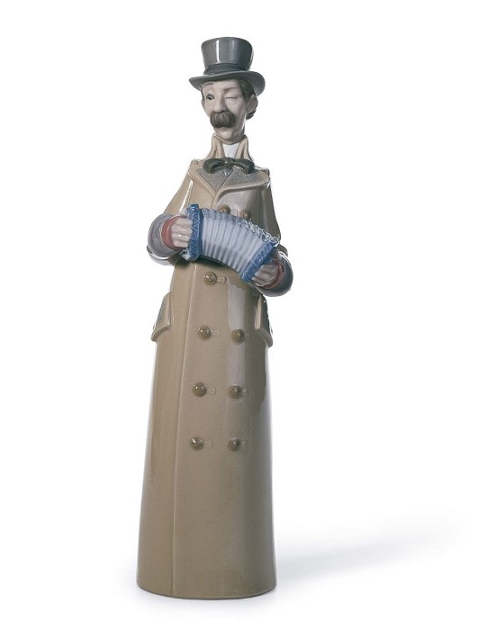 LladroMusician with AccordionPorcelain Figurine