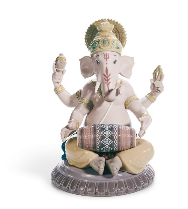 Lladro Mridangam Ganesha Mixed Media Sculpture