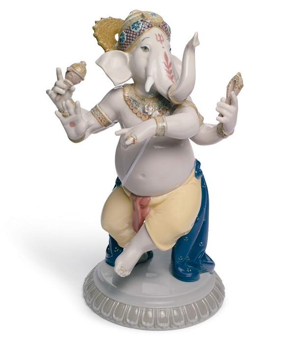 Lladro Dancing Ganesha Mixed Media Sculpture