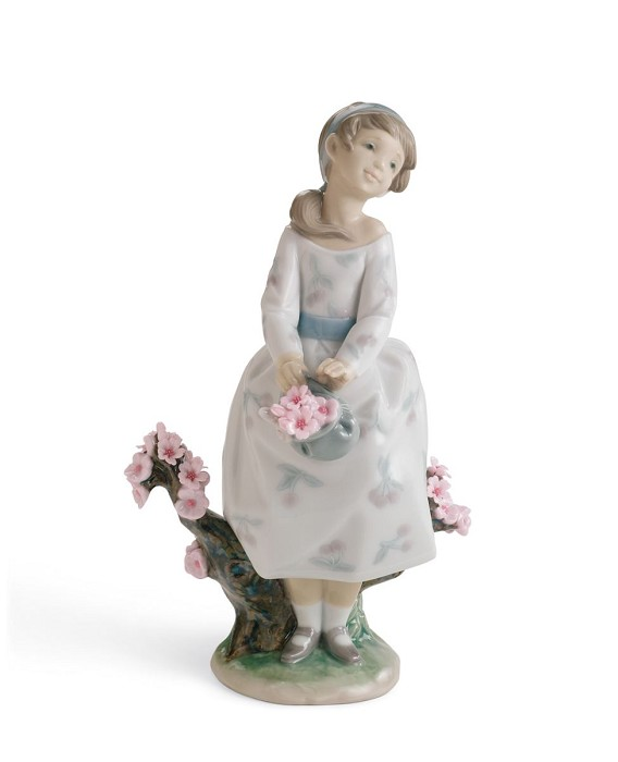 Lladro A WALK THROUGH BLOSSOMS Porcelain Figurine