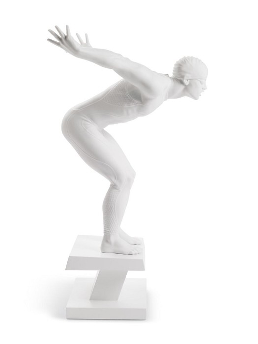 Lladro SWIMMER Mixed Media Sculpture
