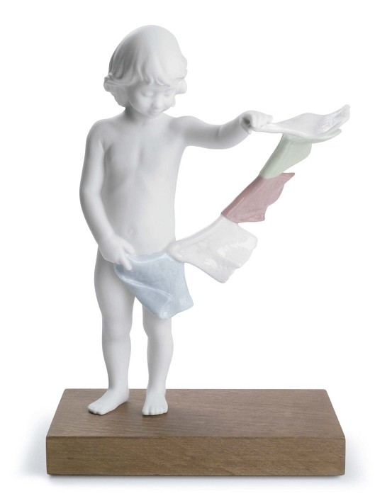 Lladro Tibetan Prayer Flags Porcelain Figurine