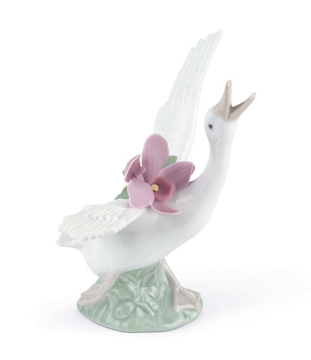 Lladro Running Duck With Pink Orchid Porcelain Figurine