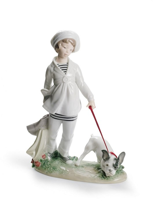 Lladro Girl with French Bulldog Porcelain Figurine