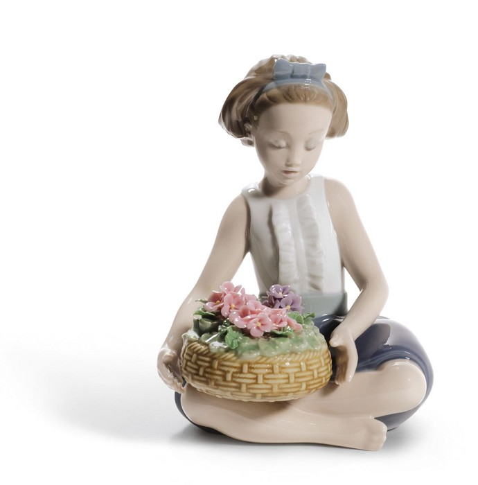 Lladro Arranging Flowers Mixed Media Sculpture