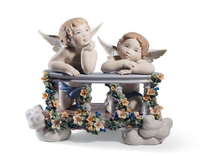 Lladro Celestial Balcony Mixed Media Sculpture