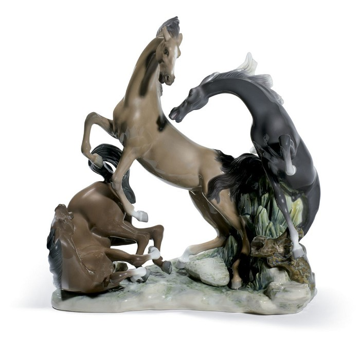 Lladro Horse's Group Porcelain Figurine
