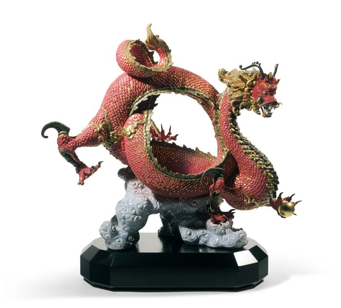 Lladro Auspicious Dragon Sculpture Red Porcelain Figurine