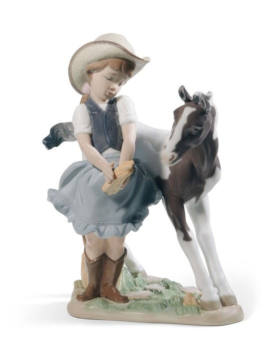 Lladro Cowgirl Mixed Media Sculpture