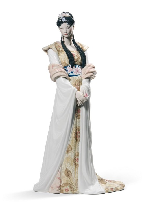 Lladro Chinese Beauty Mixed Media Sculpture