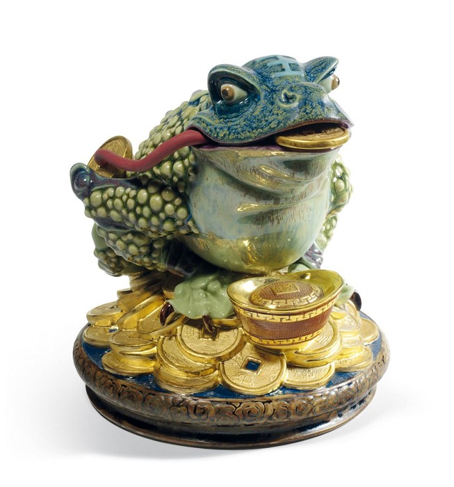 Lladro Hoptoad Mixed Media Sculpture