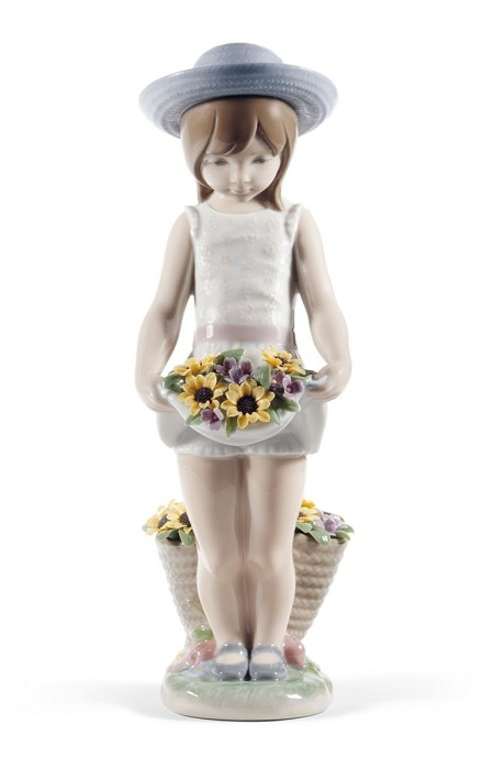 Lladro Skirt Full of Flowers Porcelain Figurine