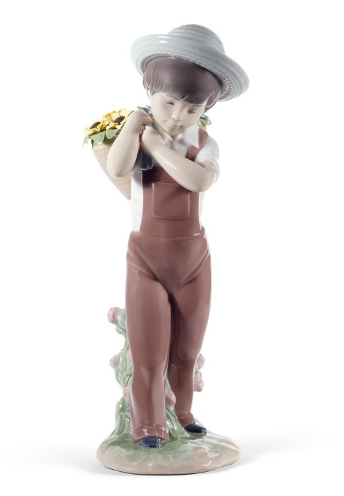 Lladro Gathering Flowers Mixed Media Sculpture