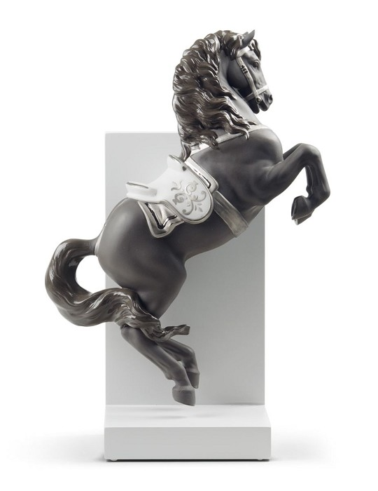 Lladro Horse on Pirouette Silver Lustre