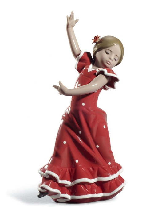 Lladro Lolita Flamenco Dancer Girl Red Mixed Media Sculpture