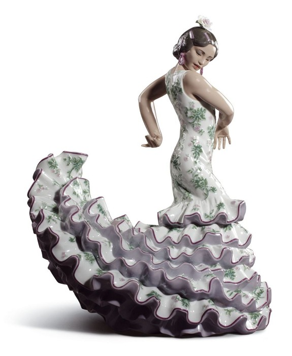 Lladro Flamenco Flair Woman Green and Purple Mixed Media Sculpture