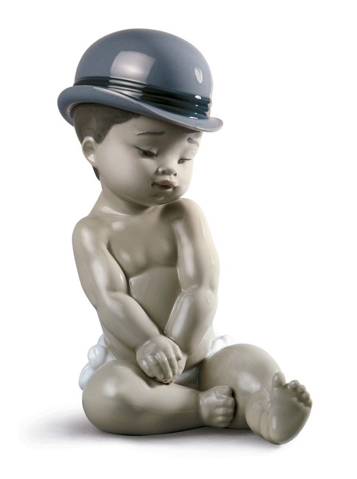 Lladro Boy With Bowler Hat Porcelain Figurine