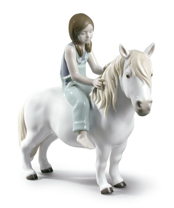 Lladro Girl with Pony Porcelain Figurine