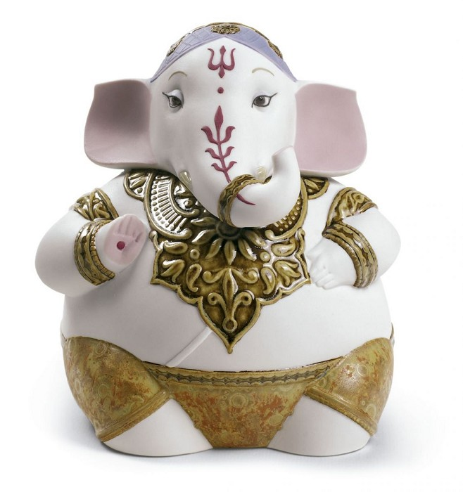 Lladro Ganesha Mixed Media Sculpture