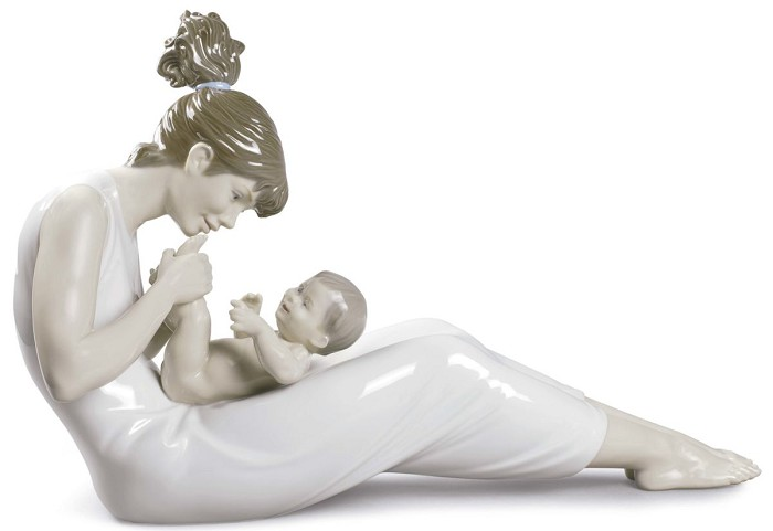 Lladro Giggles with Mom Mixed Media Sculpture