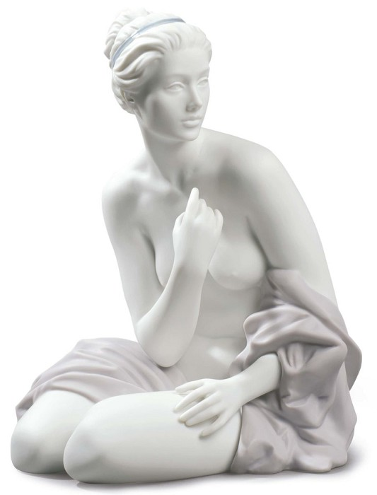 Lladro SITTING BATHER Mixed Media Sculpture