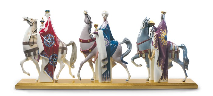 Lladro Kings Melchior, Gaspar and Balthasar Mixed Media Sculpture
