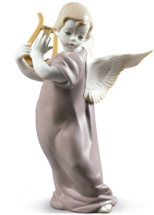 Lladro Angel with Lyre Porcelain Figurine
