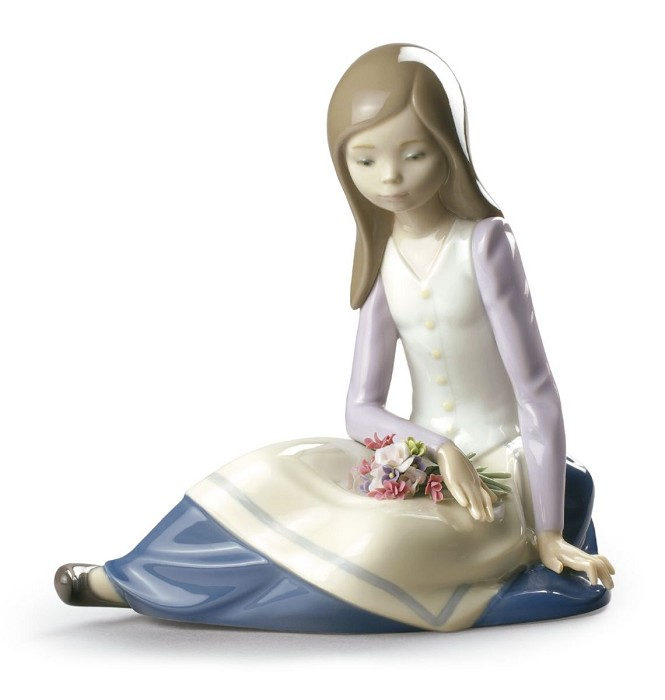 Lladro Contemplative Young Girl
