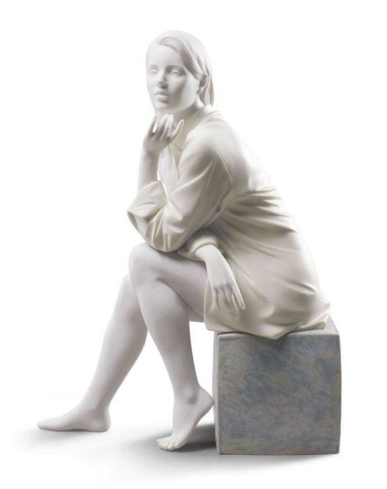 Lladro In My Thoughts Porcelain Figurine