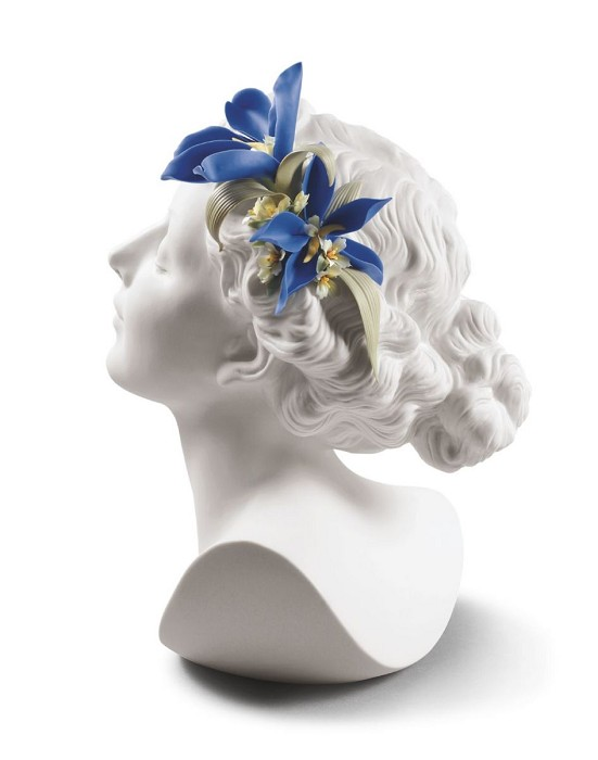 Lladro Daisy with Flowers Woman Bust Porcelain Figurine