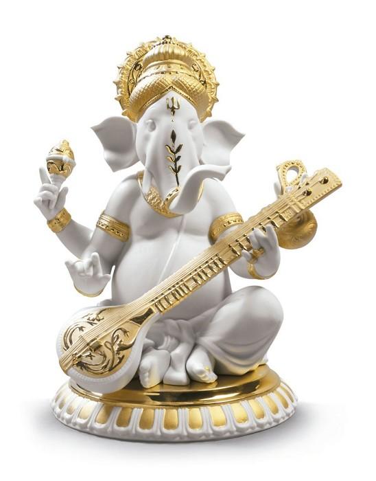 LladroVeena Ganesha. Golden Lustre