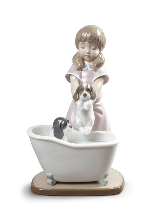 Lladro Bathing My Puppies Porcelain Figurine