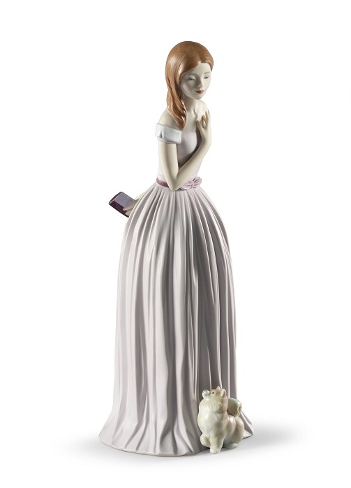 Lladro I'll Walk You to the Party Woman with Dog Porcelain Figurine