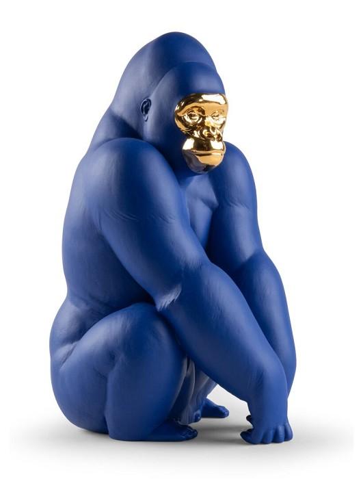 LladroGorilla Blue Gold EditionPorcelain Figurine