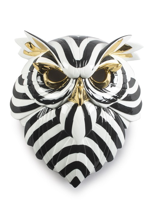 Lladro Owl Mask. Black and Gold Mixed Media Sculpture