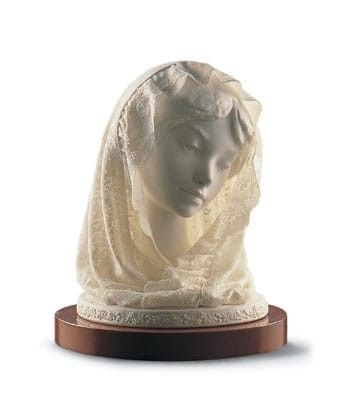 Lladro Small Bust With Veil Porcelain Figurine