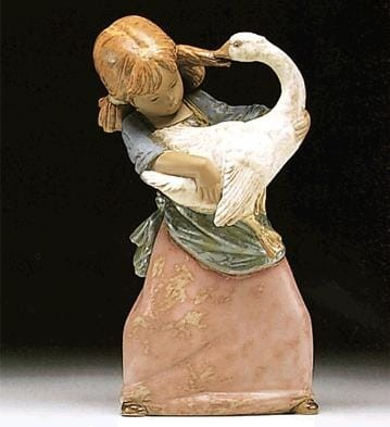 Lladro Duck Pulling Pigtail Porcelain Figurine