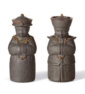 LladroSALT & PEPPER SHAKERS (BLACK)Porcelain Figurine
