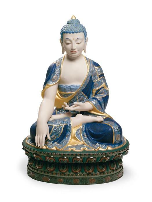 LladroShakyamuni Buddha Sculpture. Golden LustrePorcelain Figurine