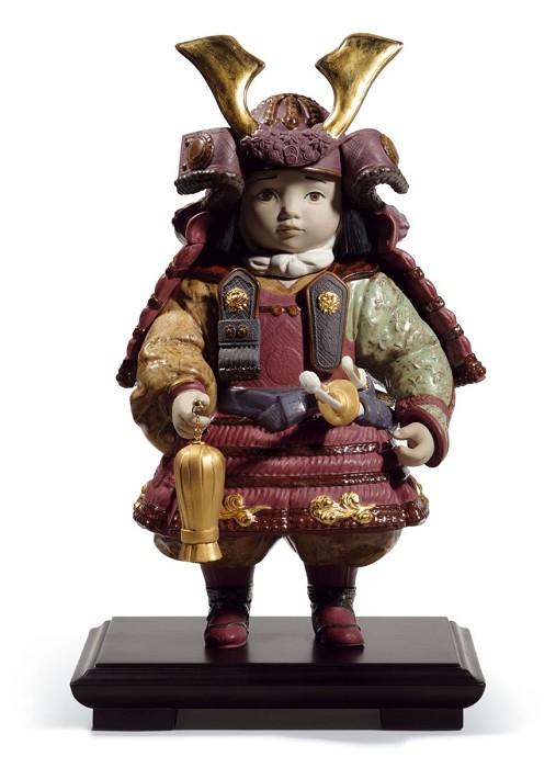 LladroWarrior Boy Golden LustrePorcelain Figurine