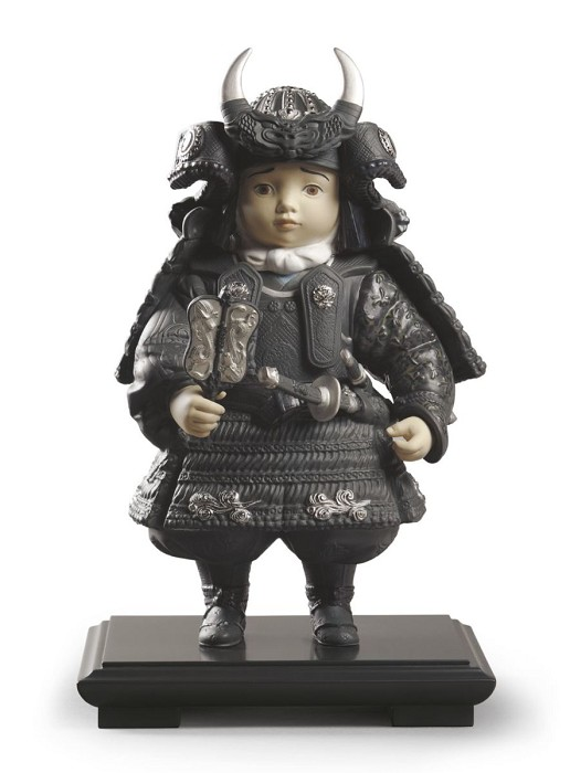 Lladro Warrior Boy Silver Lustre Porcelain Figurine