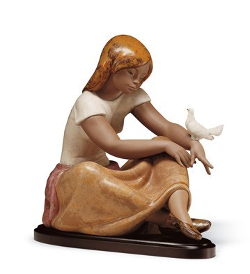 Lladro WATCHING THE DOVE Porcelain Figurine