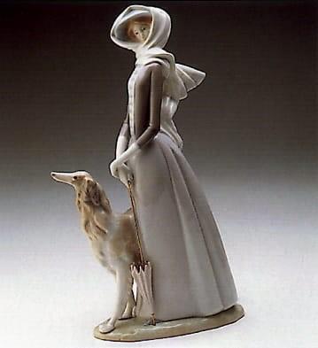 LladroLady with GreyhoundPorcelain Figurine