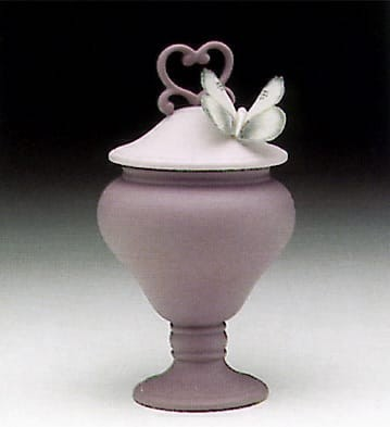 Lladro Violet Heart Sweet Box Porcelain Figurine