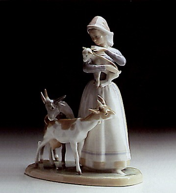 Lladro Shepherdess With Goats 1969-87