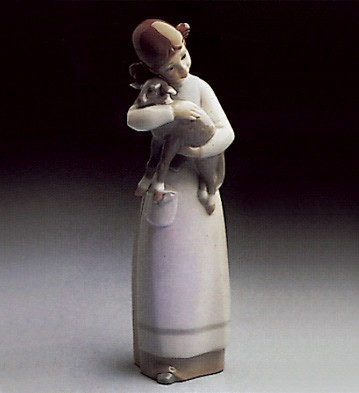 Lladro Girl with Lamb 1969-93 Porcelain Figurine